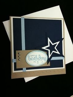 handmade birthday card .... male card by darlys62 ... luv the sharp lines and geometric shaped ... kraft, black and white with a bit of dusty blue ... great card!! ...Stampin' Up!