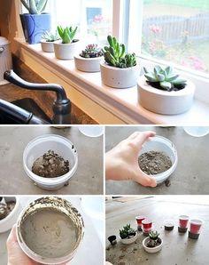 Erstaunliche konkrete Ideen in 5 Minuten fertig - DIY Garden Home Diy Concrete Planters, Concrete Bowl, Concrete Crafts, Concrete Projects, Diy Planters, Diy Projects, Rock Planters, Planter Garden, Stone Planters