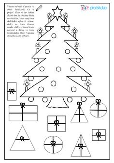 Pracovní list - vánoční stromeček - geometrické tvary Christmas Activities For Kids, Advent, Christmas Diy, Colours, Teaching, School, Note Cards, Xmas, Autism