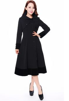 Le Noir BazaarLong Black, Red or Gray Hi Collar Coat This gorgeous coat is fully lined and accented at the collar and cuffs with black satin. Beautifully tailored, it nips in at the waist and flares at the hips to give you a beautiful hourglass figure. Approx. length: 50 inches. Cotton/Poly/Spandex. 145.00