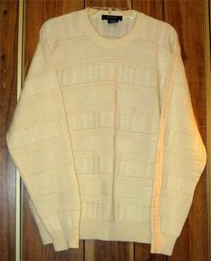 Men's Giorgiolini Ivory Wool Blend Crewneck Sweater Size Medium Made in Italy Now $12.87