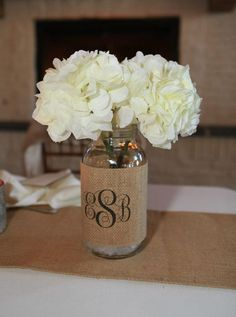 Burlap Wedding Table Decorations | Monogram Burlap Mason Jar Sleeve - Wedding Table Decoration - Set of 2 ...