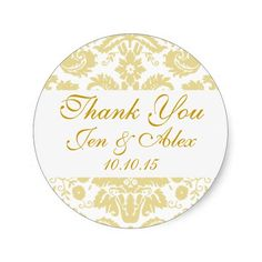 Gold Ivory Damask Wedding Favor Round Stickers