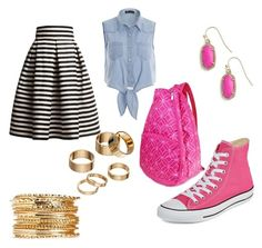 """School Outfit 33"" by emilyolson2019 on Polyvore featuring Rumour London, Converse, Kendra Scott and Apt. 9"
