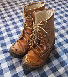 Men's Size 9 Leather Faux Shearling Boots Gum Crepe