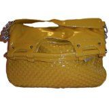 Woven Front Faux Patent Leather Handbag with Chain Detail Handle  #MileyCyrus #melaniexeinalem