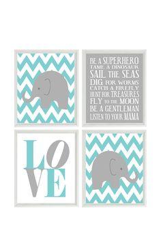 Nursery Art Elephant Chevron Baby Boy Nursery Prints, Gray Aqua Wall Art Love - Nursery Decor Playroom Rules Quote - 4 8x10