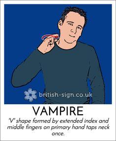 Today's #BritishSignLanguage sign is: VAMPIRE
