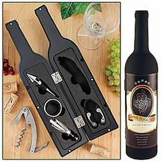 """Wine Tool Set - Novelty Bottle-Shaped Holder Perfect Hostess Gift by CSS INC.. $19.48. With drip ring and decanter/pouring spout.. Includes wine bottle opener, foil cutter, and bottle stopper.. Bottle case is 13"""" tall.. Everything you need to manage your vino is included in this unique wine bottle-shaped holder. The perfect fit for your wine drinking friends, and a memorable hostess gift.  Includes high-quality bottle opener, foil cutter, bottle stopper, drip ring, and decante..."""