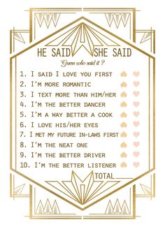Printable Gatsby Bridal Shower Game Template Instant by CupidCards