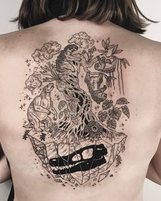 "15.6k Likes, 138 Comments - Pony Reinhardt Tattoo (@freeorgy) on Instagram: ""Floating crystal island encapsulating a velociraptor skull, overgrown by strangler fig with sleepy…"""