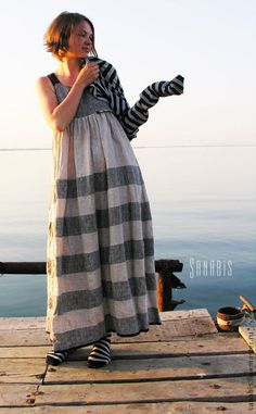 Платье-сарафан из натурального льна «Полосатое» - купить или заказать в интернет-магазине на Ярмарке Мастеров   Стильно льняное платье. Хорошо подходит на любой…