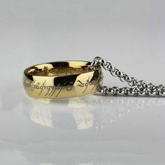 Lord Of The Rings Stainless Steel The One Ring Bilbo's Hobbit Gold Ring & Chain