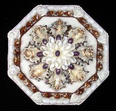 "Seashell Art SAILORS VALENTINE 8"" Octagon Shell Mosaic - Brown & White"