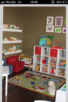Good playroom wall color...will hide fingerprints and flow with bright kid colors