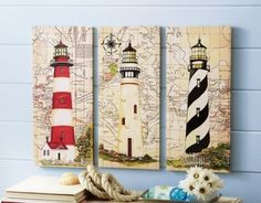 3-pc. Nautical Lighthouse Canvas Wall Art Seaside Ocean Beach Wooden Wall Decor