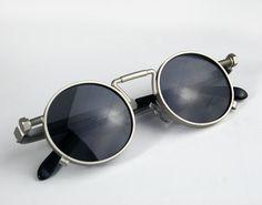 gafas de sol redondas primavera en templos plata por hitekdesigns
