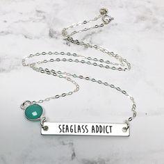 b89e2b827 Seaglass Addict Bar Necklace handmade by Beachdashery #jewelry  #seaglassaddict Stainless Steel Bar, Bar