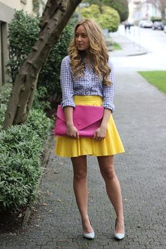 Gingham shirt + yellow skirt