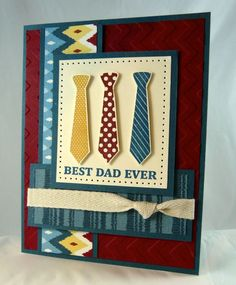 VERY NICE CARD. Stamp Set: Best Dad Ever DSP – Parker's Patterns Card Stock: Not Quite Navy (ret), Cherry Cobbler, Very Vanilla Ink: Cherry Cobbler, Not Quite Navy, Daffodil Delight
