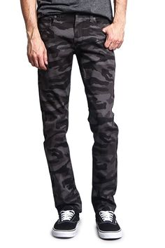 80ebaa1a34 G-Style USA Mens Camouflage Skinny Fit Jeans - Black Camo - C0123ZOPT4B