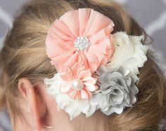 Peachy pink flower hair clip for girls -LaBellaRoseBoutique on Etsy. Shop handmade, girl's hairstyles, girl's hair accessories, flower girl hair, picture day hair.