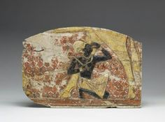 Painted limestone relief showing a youthful king being suckled by the Hathor-cow. New Kingdom. 19th dynasty, c. 1295-1186 B.C.E | The Walters Art Museum