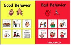 Good Behavior vs. Bad Behavior Visual Classroom Rules by theautismhelper.com