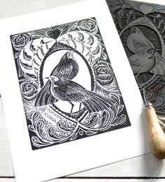 Bird Lino Cut Prints by Amanda Colville, via Behance
