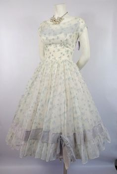 1950's White Chiffon Party Dress with Blue Bow by FrenchKissxo