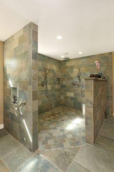25 Amazing Walk In Shower Design Ideas - tropical-bathroom-walk-in-shower - Handicap Bathroom, Master Bathroom Shower, Small Bathroom With Shower, Bathroom Showers, Locker Room Bathroom, Huge Shower, Shower Mirror, Bathroom Canvas, Shower Pan