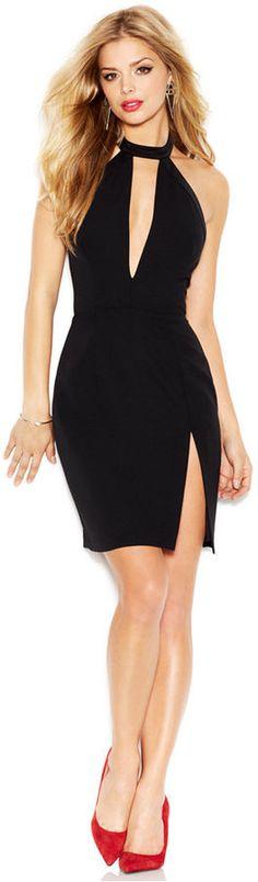 GUESS Sleeveless Halter-Neck Cutout Dress