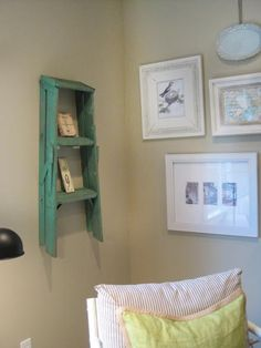 When you think an item has no functionality, think again. Melissa Michaels of The Inspired Room placed a small, brightly colored stepladder on the wall to function as a display shelf and eye-pleaser. The weathered finish on the ladder paired with crisp white frames on the adjacent wall gives the room a classic cottage look.