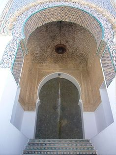 Entrance of Sidi Boumediene mosque in Tlemcen, Algeria, built to honor 12th century Sufi master Abu Madyan