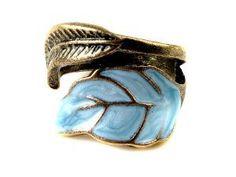 Amazon.com: Vintage Style Women's Elegant Enamel Unique Leaves Ring: Jewelry