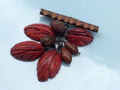 Bakelite Fruit/Nut Brooch – 1940's Heavily Carved Bakelite Seeds & Bakelite Walnut Beads – Real Wood Carved Bar – Bakelite Tested by OnceTwiceVintageWare on Etsy