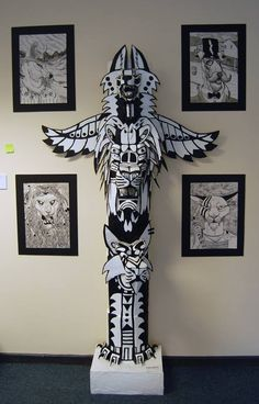 Totem pole Sculpture (cardboard) by CrossIllustration.deviantart.com on @deviantART