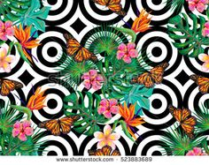 Butterfly. Seamless summer pattern with butterflies, flowers, leaves. Texture vector background with butterflies. Perfect for wallpapers, pattern fills, web page backgrounds, surface textures, textile