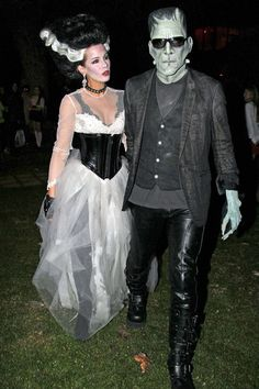 The Hollywood couple, Len Wiseman and Kate Beckinsale, head out Halloween night in full costumes as Frankenstein and the Bride of Frankenstein.