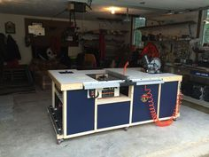 Rolling workstation, table saw cabinet or call it my work island; I made to incorporate a table saw, chop saw, router and other various tools. Workshop Layout, Workshop Storage, Workshop Organization, Home Workshop, Garage Workshop, Tool Storage, Workshop Ideas, Garage Storage, Woodworking Workshop