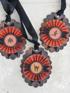 Set of THREE Vintage Inspired HALLOWEEN Gift Tags Ornaments Victorian Paper Rosettes Witch Owl Cat
