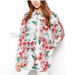 Elegante de impressão floral longa blusa New Moda Feminina ' desligar colarinho manga longa OL camisas casual tops de design fino da marca e...