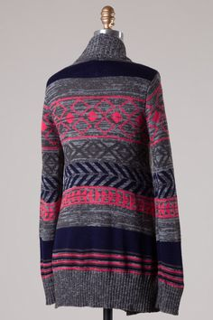 Gray and Pink Tribal Cardigan