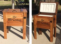 Outdoor Cedar Ice Chest Cooler Stand
