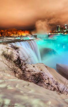 Frozen Niagara Falls at Night