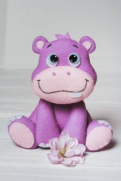 Felt hippo Organic stuffed animals African Jungle Nursery
