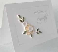 Handmade  card, deepest sympathy, paper quilling flowers (PaperDaisyCardDesign on Etsy)