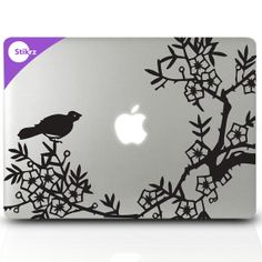 Vinyl MAC DECAL laptop stickers cherry blossoms Nature by stikrz, $14.98