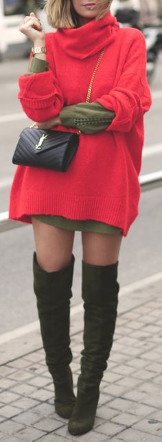 Red over-sized knit.