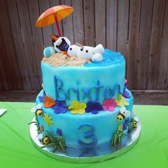 Olaf Summer luau birthday cake